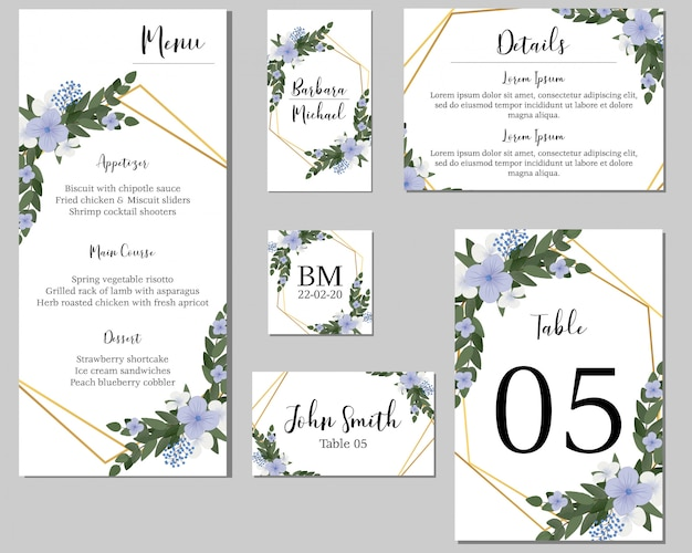 Purple floral wedding stationary with golden frame