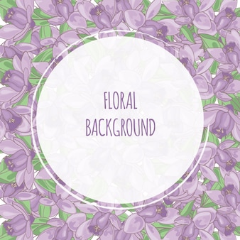Purple flower floral background frame