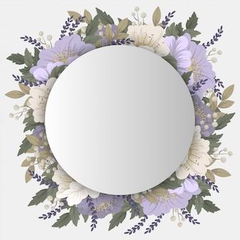 白い背景の上の紫色の花 Premiumベクター