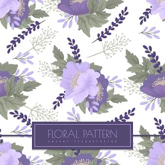 白地に紫の花のシームレスパターン