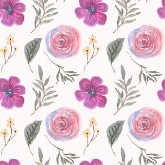 紫の花の水彩画のシームレスなパターン