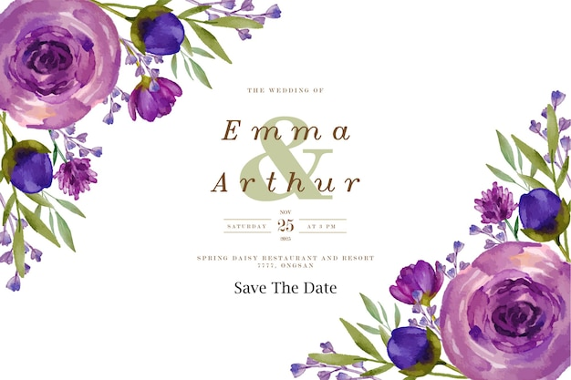 보라색 꽃 수채화 결혼식 배경