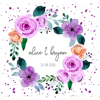 Purple flower watercolor wreath