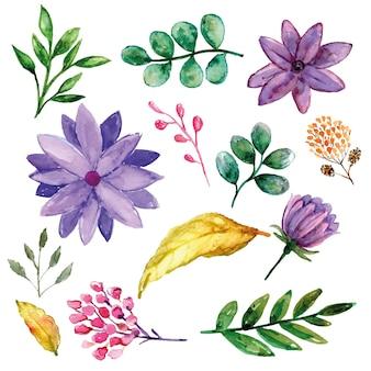 Фиолетовый цветок с зеленью и дополнительный набор розовых и желтых цветов