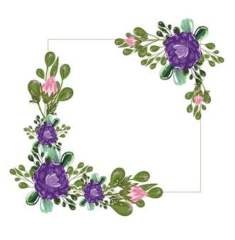 紫の花花の自然の葉の境界線、イラスト絵画