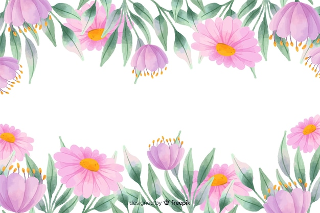 Purple flowers frame background with watercolor design