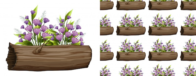 Purple flowers on log seamless pattern