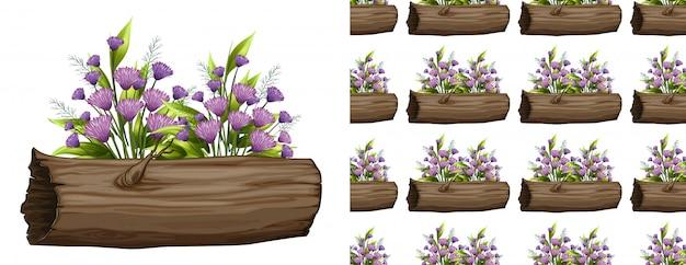 Purple flowers on log seamless pattern