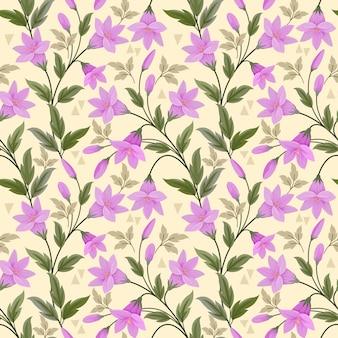 Фиолетовые цветы на желтом бесшовные модели для тканевых текстильных обоев.