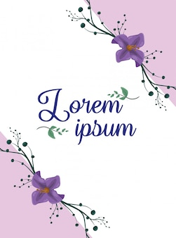 Purple flowers poster, blank space to insert text or design