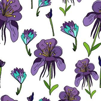 흰색 바탕에 보라색 꽃 원활한 패턴 꽃 봉 오리 섬세 한 handdrawn 꽃 패턴