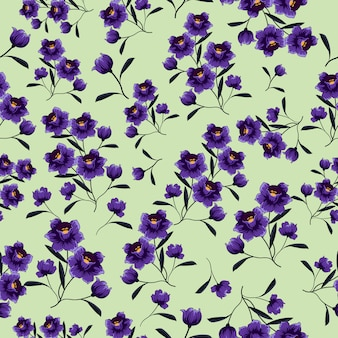 Purple flowers seamless pattern