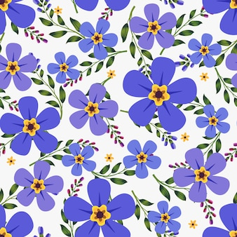 Purple flowers wreath ivy style with branch and leaves, seamless pattern