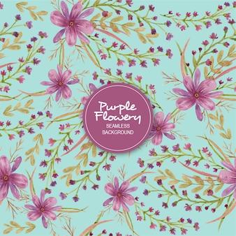 Purple flowery seamless background