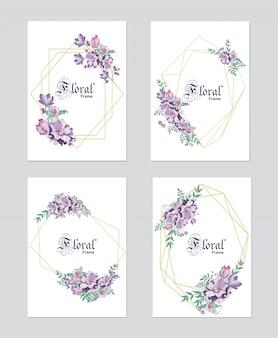 Purple frame wedding invitation with gold