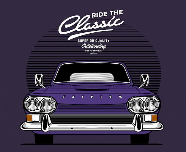 Purple front facing classic car