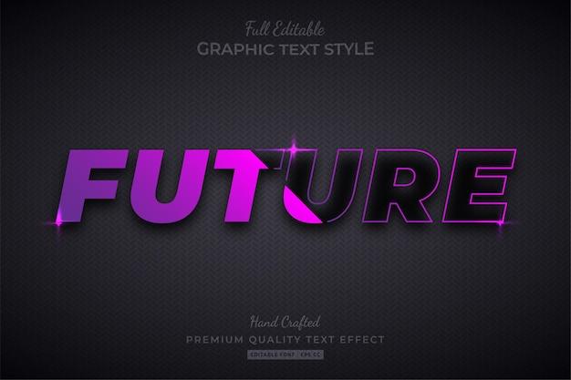 Стиль шрифта с эффектом редактирования редактируемого текста с фиолетовым градиентом будущего