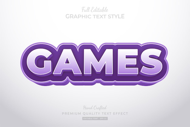 Purple games cartoon editable text effect font style