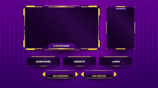 Purple gaming panel set design template