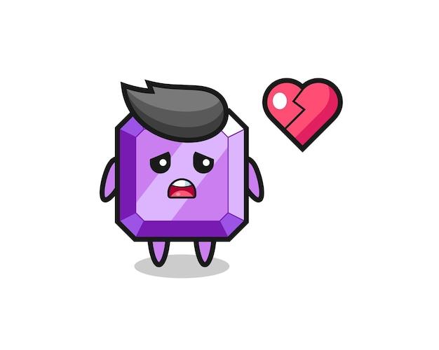 Фиолетовая иллюстрация шаржа драгоценного камня - разбитое сердце, милый стиль дизайна для футболки, наклейки, элемента логотипа