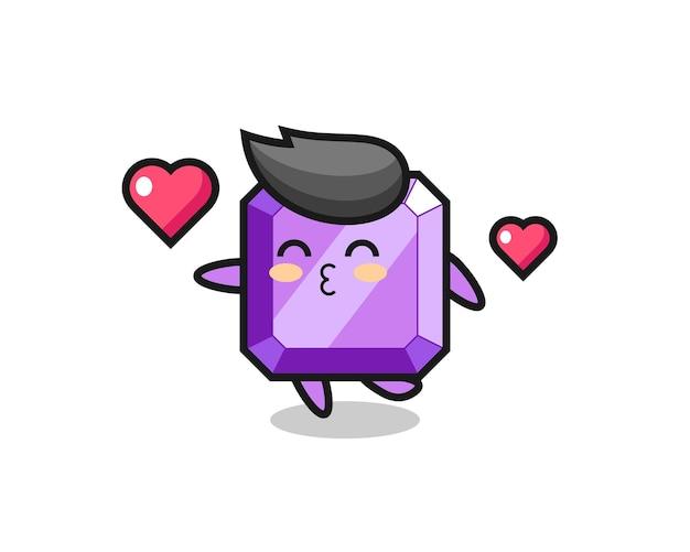 キスジェスチャー、tシャツ、ステッカー、ロゴ要素のかわいいスタイルのデザインと紫色の宝石のキャラクター漫画