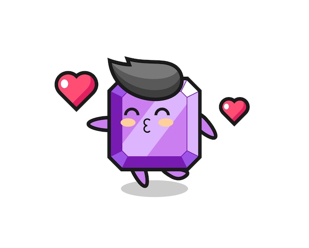 Purple gemstone character cartoon with kissing gesture , cute style design for t shirt, sticker, logo element