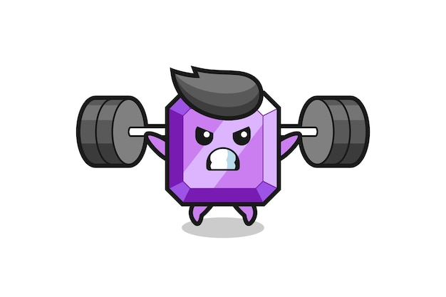 Purple gemstone mascot cartoon with a barbell , cute style design for t shirt, sticker, logo element
