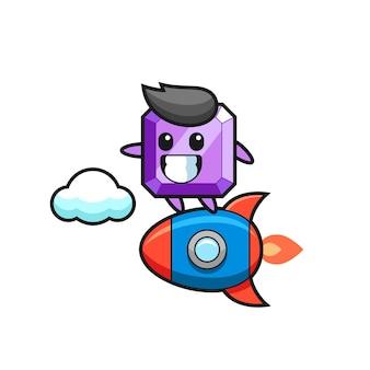 로켓을 타는 보라색 보석 마스코트 캐릭터, 티셔츠, 스티커, 로고 요소를 위한 귀여운 스타일 디자인