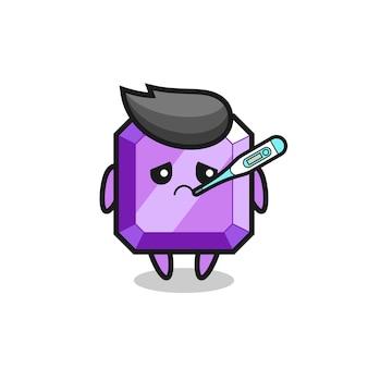 発熱状態の紫色の宝石のマスコットキャラクター、tシャツ、ステッカー、ロゴ要素のかわいいスタイルのデザイン