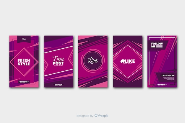 Purple geometric abstract instagram stories template