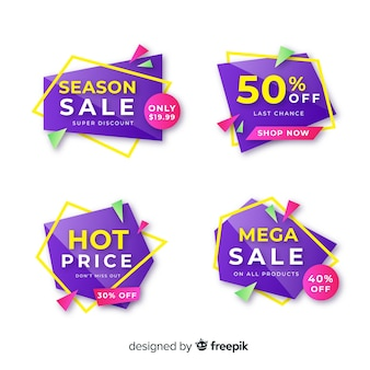 Purple geometric sale banner template