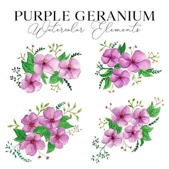 Purple geranium watercolor elements