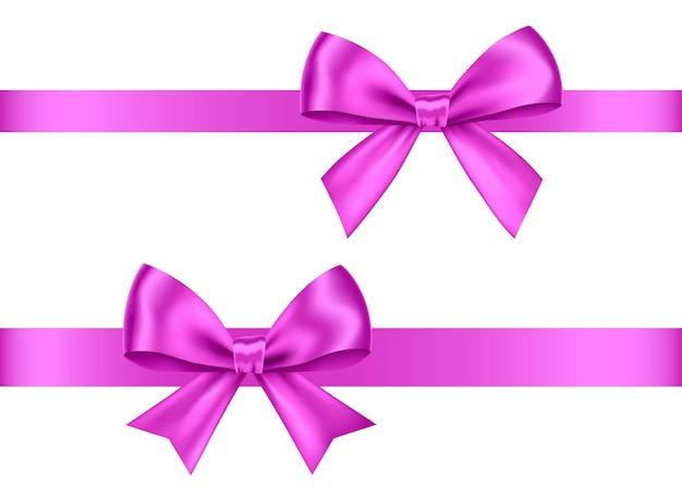 Набор фиолетовых подарочных бантов, изолированные на белом фоне