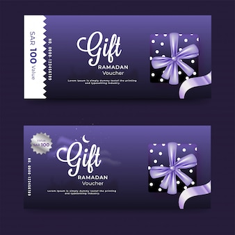 Purple gift voucher banner layout set with gift box and discount