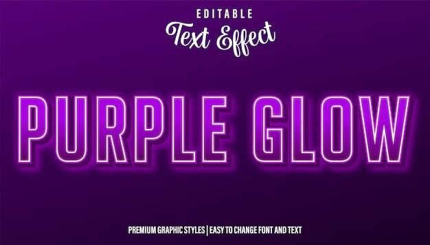 Purple glow neon style редактируемый текстовый эффект
