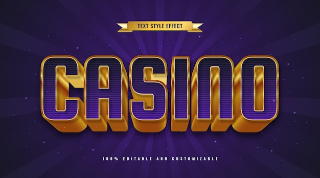 Purple and gold casino text style with 3d embossed effect. editable text effect