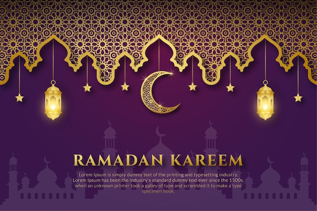 Purple and gold ramadan kareem or eid mubarak arabic with moon, islamic ornament, lantern