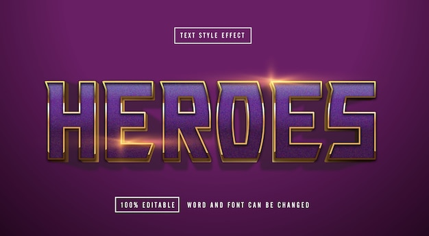 Purple gold text effect editable