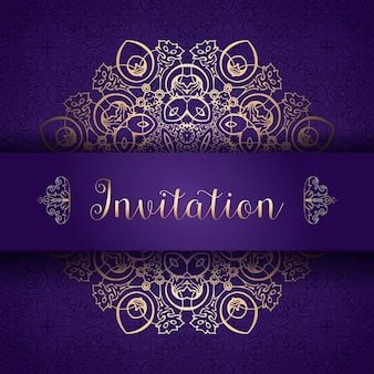 Purple and golden invitation