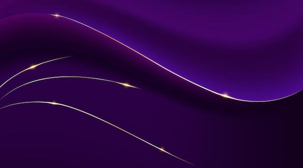 Фиолетовый градиент абстрактной кривой и золотые линии иллюстрации фона
