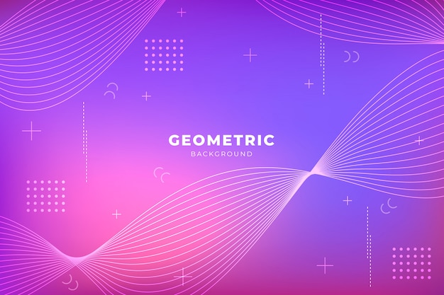Purple gradient background with geometric shapes