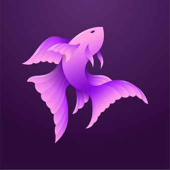 紫のグラデーションベタの魚のモダンなマスコットイラスト