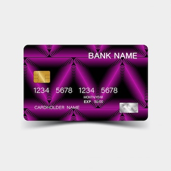 Purple gradient credit card design. on the gray background.
