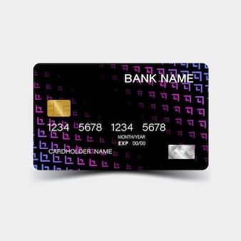 Purple gradient credit card design.