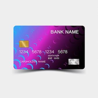 Фиолетовый градиент дизайн кредитной карты.