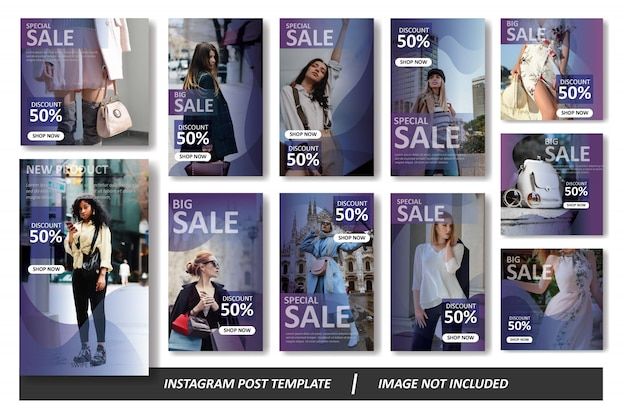 紫のグラデーションinstagramフィードとストーリーテンプレートパック
