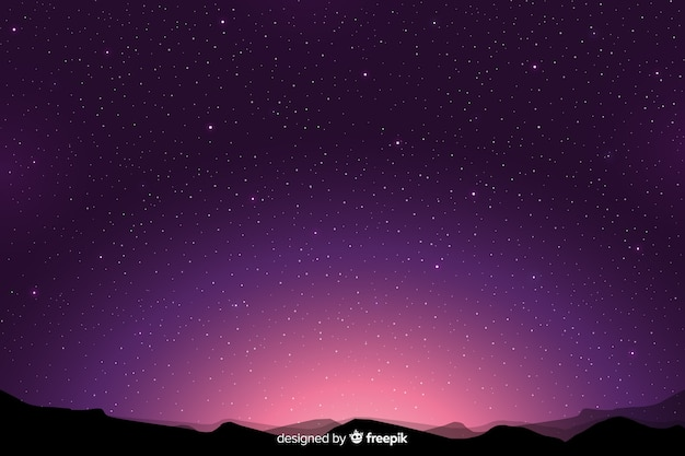 Purple gradient starry night background Premium Vector