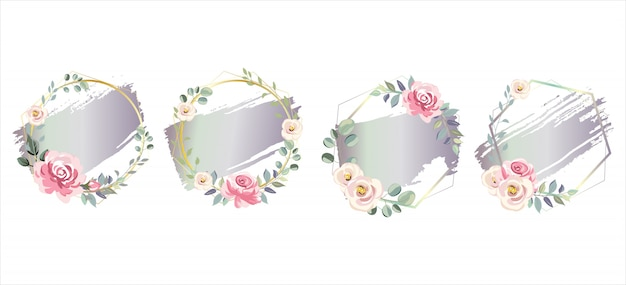 Purple gradient watercolor effect with floral frames
