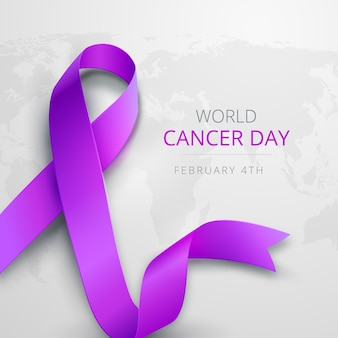 Purple gradient world cancer day ribbon