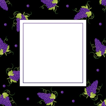 Purple grape background with square frame